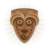 闹事 礼节面具由木头制成 向量例证
