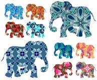 闹事 补缀品 在白色背景的美丽的大象 库存例证