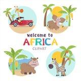 闹事 非洲动植物 套在动画片样式的传染媒介例证 向量例证