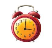 古板的红色闹钟。 免版税库存图片