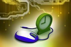 闹钟和计算机老鼠 免版税库存图片