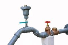 水阀门在大厦,由阀门的控制水流量设置了 免版税库存图片