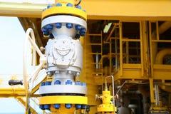阀门手工在生产过程中 控制系统的生产过程使用的手工阀门,接近的操作员开放和 库存图片