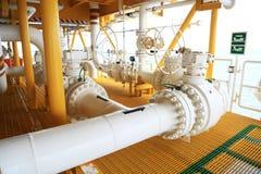 阀门手工在生产过程中 控制系统的生产过程使用的手工阀门,接近的操作员开放和 免版税库存图片
