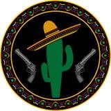 阔边帽、两把手枪和仙人掌 免版税库存图片