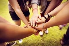 队一起配合联系团结友谊概念 库存图片