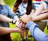 队一起配合联系团结友谊概念 免版税库存图片