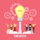 队与企业peole的成功横幅 免版税图库摄影