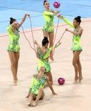 队乌兹别克斯坦节奏体操 免版税图库摄影