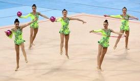 队乌兹别克斯坦节奏体操 免版税库存照片