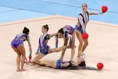 队以色列节奏体操 库存照片