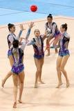 队以色列节奏体操 免版税库存照片
