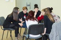 队合作会议开始概念 学习的女性变化年轻人 库存图片