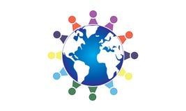 队工作商标环球-被环绕的地球和队工作联合人商标模板圆企业队团结的商标 皇族释放例证