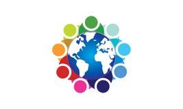 队工作商标环球-被环绕的地球和队工作联合人商标模板圆企业队团结的商标 向量例证