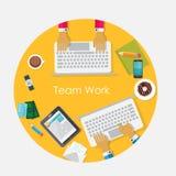 队工作平的概念传染媒介例证 免版税库存照片