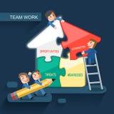 队工作概念的平的设计 免版税图库摄影