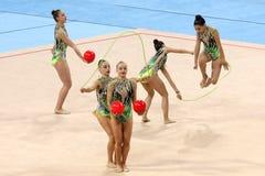 队希腊节奏体操 免版税图库摄影