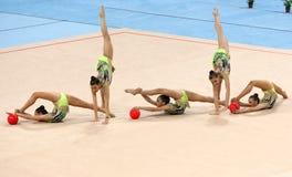 队希腊节奏体操 库存图片