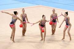 队斯洛伐克节奏体操 免版税库存照片