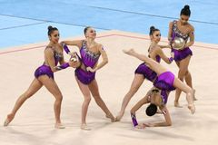 队法国节奏体操 库存图片