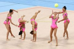 队澳大利亚节奏体操 库存照片
