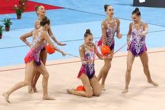 队白俄罗斯节奏体操 免版税库存照片