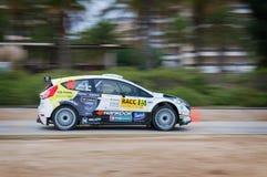 队福特节日RS的WRC汽车在萨洛角,西班牙 免版税图库摄影