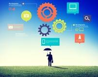 队配合嵌齿轮功能技术企业概念 免版税库存图片