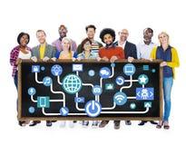 队配合目标战略视觉企业支持概念 免版税库存照片