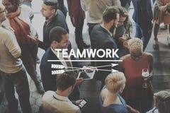 队配合建造队的共同作用授权概念 库存图片