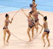 队韩国节奏体操 免版税库存图片