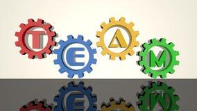 队,在齿轮的题字,在白色背景,镜象的红色,蓝色,黄色,绿色元素 转动的齿轮,3d 库存例证