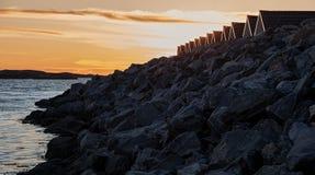 防堤加拿大斜纹布湖魁北克st日落 免版税库存图片