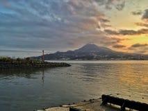 防堤河山在台湾 库存照片