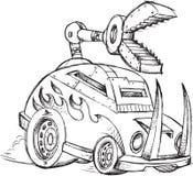 防弹车车剪影 库存图片