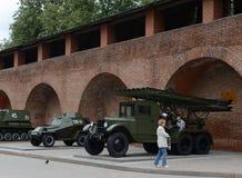 防弹车BA-64和BM-13卡秋沙是火箭火炮苏联作战机器  军事的陈列 免版税库存图片