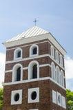 防御与一个十字架的塔在上面 图库摄影