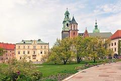 防御历史记录克拉科夫中世纪纪念波兰wawel 庭院 库存图片