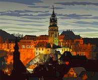 防御在捷克克鲁姆洛夫(捷克)在晚上-动画片例证 免版税库存照片