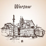 防御在老处所的正方形华沙,波兰 草图 Isol 免版税库存照片