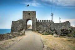 防御在Kaliakra的入口半岛在北保加利亚 图库摄影