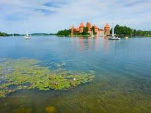防御在Trakai的湖Galve,立陶宛 库存照片