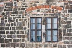 防御城市中世纪老quedlingburg视窗 库存照片