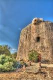 防御塔在波尔图孔特,撒丁岛 图库摄影