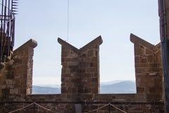 防御墙壁Palazzo Vecchio塔,佛罗伦萨,托斯卡纳,意大利的片段 库存图片