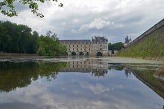 防御尚翁索,反射,卢瓦尔河流域,法国 免版税库存图片