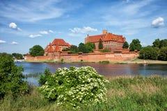 防御庭院欧洲玻璃哥特式最巨大的malbork波兰被弄脏的视图 免版税库存图片