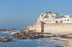 防御essaouira摩洛哥墙壁 库存图片