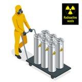 防护制服、面具、手套和起动的工作者与桶在铲车的化学制品一起使用 等量 皇族释放例证